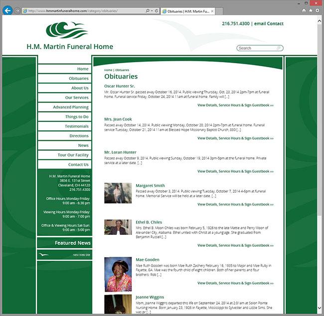 H.M. Martin Funeral Home. Custom Web Site Design ...