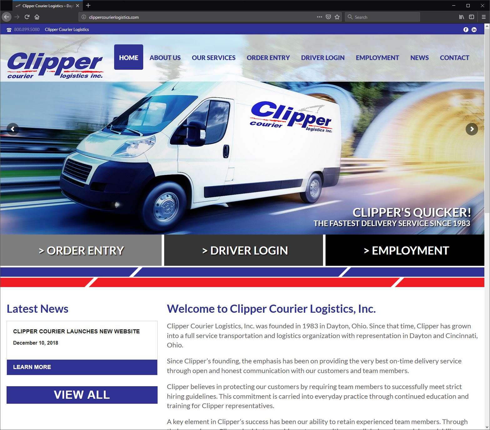 Custom Responsive Web Design for Clipper Courier Logistics - WebRiver